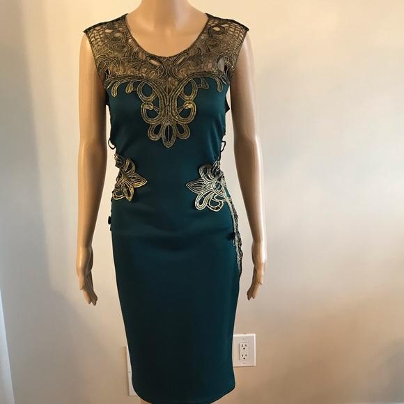 Gold and Green Lace Sheath Dress